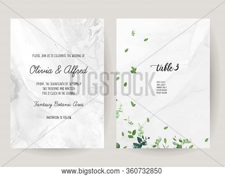 Grey Marbled Stone Vector Design Frames Set. Minimalist Greenery Wedding Cards. Gray Textured Marble