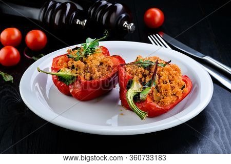 Stuffed Peppers With Vegetables - Mashed Potatoes, Mushrooms Champignons. Healthy Vegan Vegetarian F