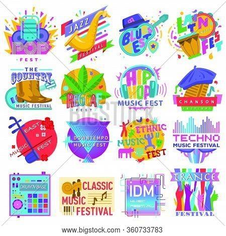 Music Festivals Emblem Set, Invitation For Event. Jazz Fest, Pop, Blues, Ethnic, Chanson, Trance, Do