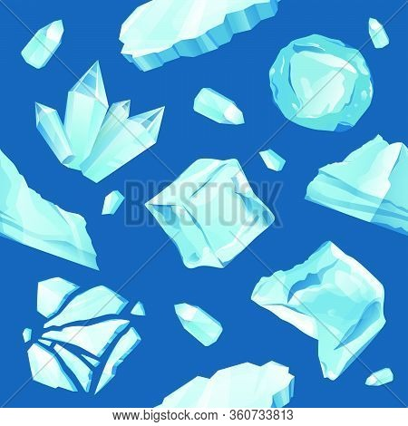 Ice Caps Snowdrifts And Icicles Elements Pattern. Winter Vector Background. Ice Cube With Transparen