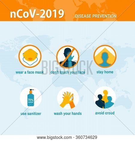 Coronavirus 2019-ncov Disease Prevention Infographic Healtcare Concept