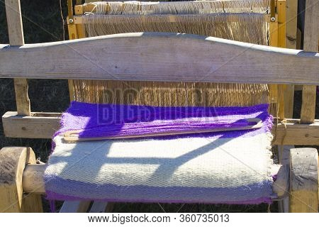 Antique Textile Loom, Medieval Craft, Closeup View.