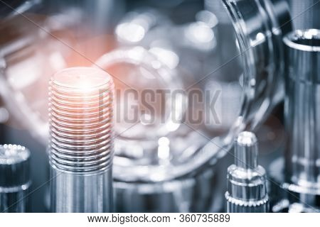 Industrial  Concept. Many Types Of Metal Details Industrial Design Background