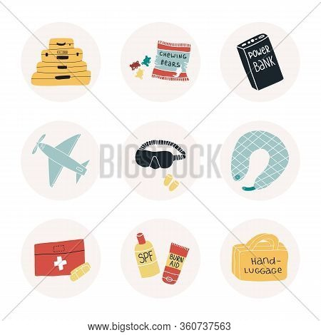 Fun Hand Drawn Travelling Highlights, Sticker, Icon Set. Suitcases And Hand Luggage Bag From One Col