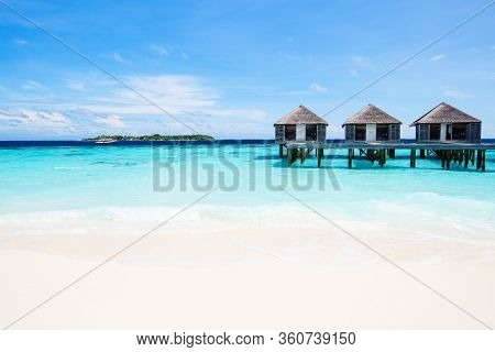 Overwater bungalows at maldivian island