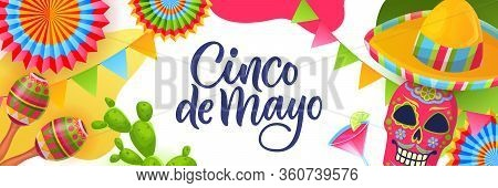 Cinco De Mayo Fiesta, Horizontal Banner Or Poster Design Template. Greeting Gift Card With Calligrap
