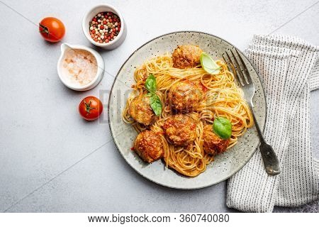 Plate Of Spaghetti With Meatballs In Tomato Marinara Sauce, Top View