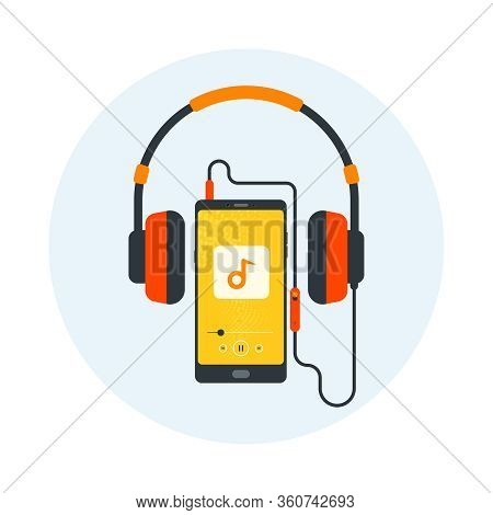 Headphones, Mobile With Headset, Listening To Music, Cheerful Songs Playlist, Music Player, Stereo S