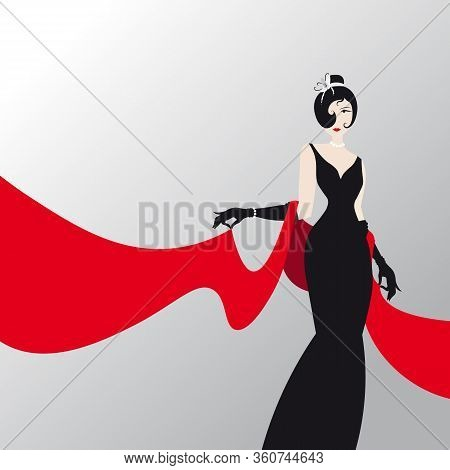 Cute Girl With Red Shawl , Fashion Silhouette Of An Woman In A Long Black Dress And Red Palantine