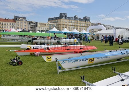 Dieppe, France - May 25, 2019: French Rowing Championship. Water Rowing Boats