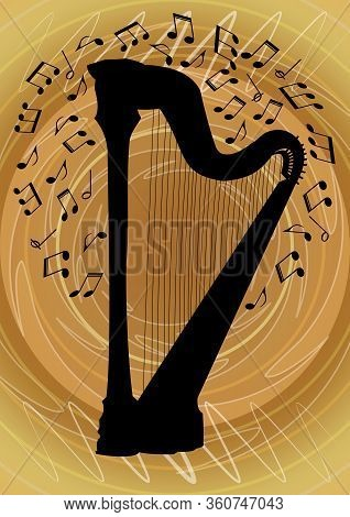 Silhouette Of Harp Surrounded By Notes On Abstract Gold Background, Graphic Design Of Flyer With Mus