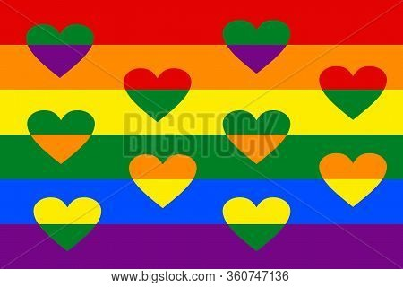 Lgbt Flag With Overlapping Hearts Between Rainbow Strips. Vivid Spectrum Colors. Lesbian, Gay, Bisex