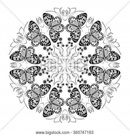 Monochrome Black And White Mandala With Butterflies, Curly Patterns, Circle Ornament On White Backgr