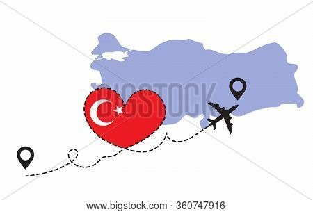 Travel To Turkey By Airplane Concept. I Love Turkey Vector Illustration
