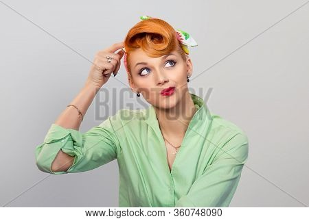 Thinking. Portrait Closeup Funny Confused Skeptical Woman Girl Female Thinking Remembering Things  L