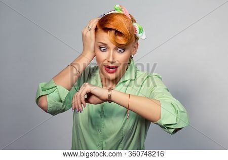 Woman Being Late. Closeup Portrait Headshot View Stressed Young Attractive Beautiful Businesswoman C