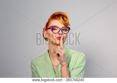 Silence. Woman  Asking For Silence Or Secrecy With Finger On Lips Hush Hand Gesture Yellow Backgroun