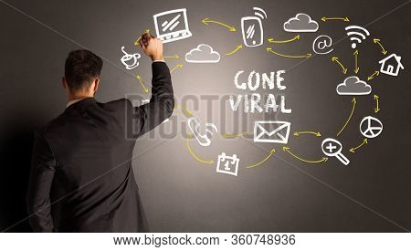 businessman drawing social media icons with GONE VIRAL inscription, new media concept