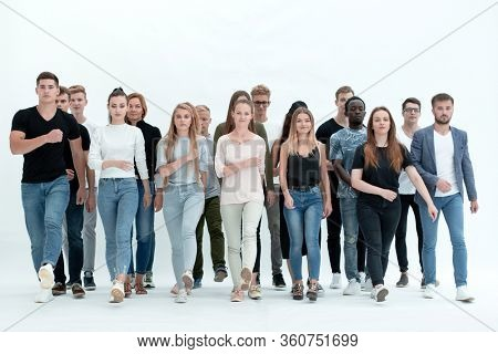 group of confident young people standing together.