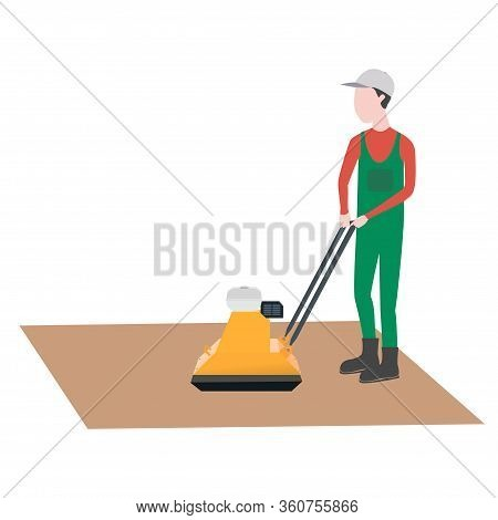 Sand Compactor. Man Works. Sand-laying Machine For Artificial Grass.