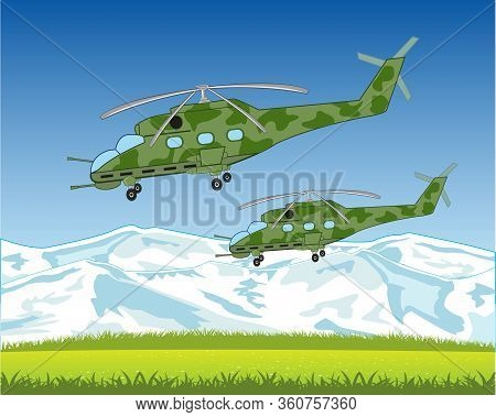 Combat Helicopters Flying To Sky On Mountain