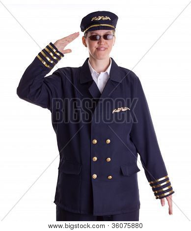 Female Pilot Saluting
