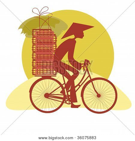 Silhouette Vietnamese Cycling