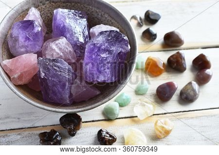 A Top View Image Of Amethyst And Rose Quartz Crystal With Citrine, Green Aventurine, Smokey Quartz,