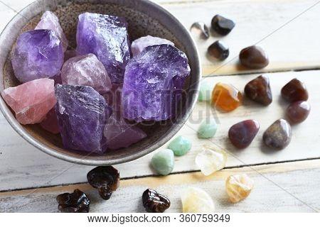 A Top View Image Of Amethyst And Rose Quartz Crystal With Citrine, Green Aventurine, Smokey Quartz,