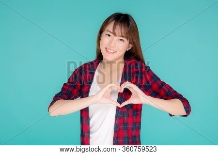 Beautiful Happy Young Asian Woman Wear Travel Summer Gesture Heart Shape With Hand Having Confident