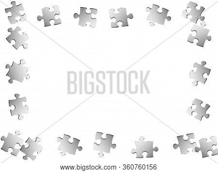 Abstract Crux Jigsaw Puzzle Metallic Silver Pieces Vector Background. Group Of Puzzle Pieces Isolate