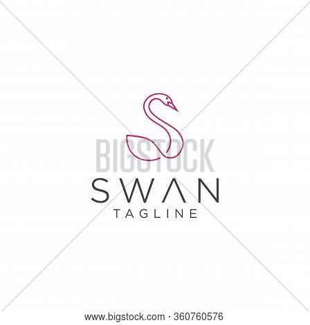 Letter S Swan Logo Linear Designs Inspiration . Letter S Goose Logo Line Design Template . Abstract