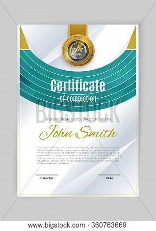 Official White Certificate With Green Arc Design Element. Modern Blank With Gold Emblem. Vector Illu