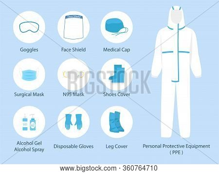 Set Of Ppe Personal Protective Suit Clothing Isolated And Safety Equipment For Prevent Corona Virus,