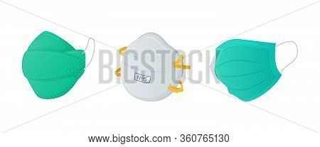 Various Masker Set Collections With N95 Surgical And Regular Mask With Modern Flat Style Vector