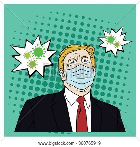 Donald Trump Wearing Mask Corona Virus, Covid-19, Flat Design Pop Art Vector Design.