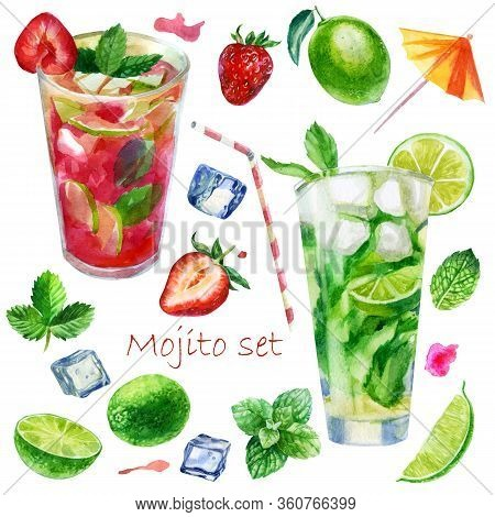 Watercolor Illustration Set. Image Of Glasses With Mojito Cocktails And Strawberry Mojito. Mint Leav
