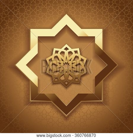 Arabic Geometric Tracery. Gold Pattern On A Beige Background. Graceful Golden Oranment. Elegant Isla