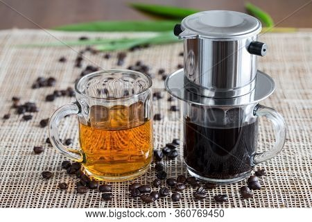Two Coffee Makers On Placemat. Vietnam Traditional Style