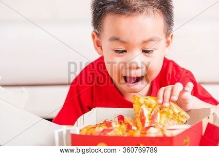 Hot Homemade, Vegetarian Fast Italian Food, Cute Little Child Enjoying Holding Delivery Pizza Pepper