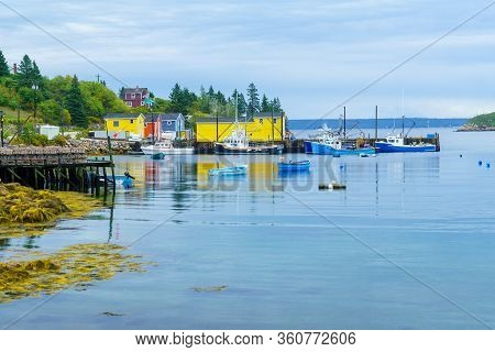 Views Of The Bay, Boats And Waterfront Buildings In Northwest Cove, Nova Scotia, Canada