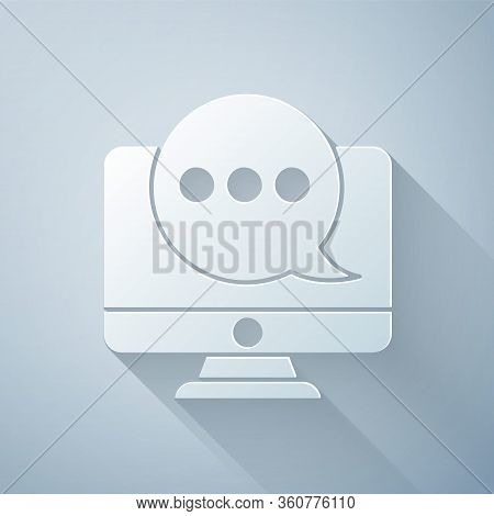 Paper Cut New Chat Messages Notification On Monitor Icon Isolated On Grey Background. Smartphone Cha