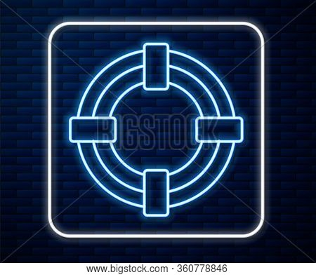 Glowing Neon Line Lifebuoy Icon Isolated On Brick Wall Background. Life Saving Floating Lifebuoy For