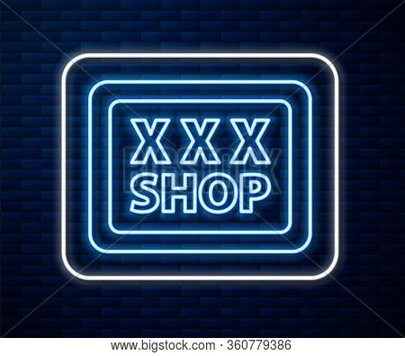 Glowing Neon Line Sex Shop Icon Isolated On Brick Wall Background. Sex Shop, Online Sex Store, Adult