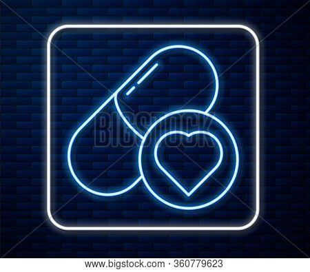 Glowing Neon Line Pills For Potency, Aphrodisiac Icon Isolated On Brick Wall Background. Sex Pills F