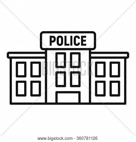 Police Station Icon. Outline Police Station Vector Icon For Web Design Isolated On White Background