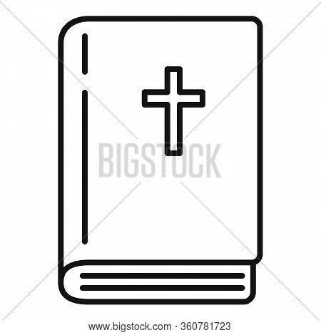 Bible Book Icon. Outline Bible Book Vector Icon For Web Design Isolated On White Background