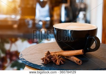 Closeup Tray With Serving Aromatic Cup Of Coffee With Cinnamon. Barista Prepared, Brewed Espresso, A