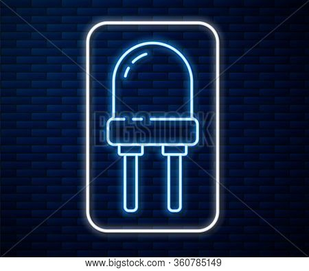 Glowing Neon Line Light Emitting Diode Icon Isolated On Brick Wall Background. Semiconductor Diode E