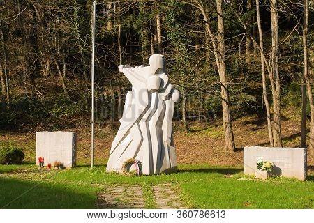Nova Gorica, Slovenia - December 24 2019. A Yugoslavia Era Second World War Memorial In The Rozna Do